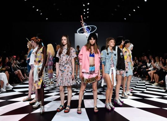 SYDNEY, AUSTRALIA - MAY 18:  Models walk the runway during the Emma Mulholland show at Mercedes-Benz Fashion Week Resort 17 Collections at Carriageworks on May 18, 2016 in Sydney, Australia.  (Photo by Stefan Gosatti/Getty Images)
